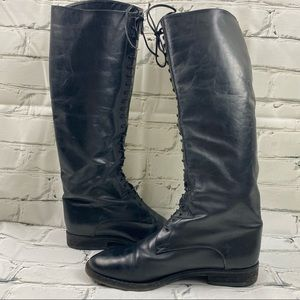 Black genuine leather knee high tie up boots